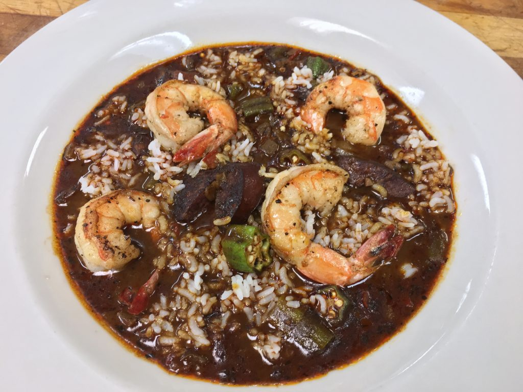 A bowl of shrimp and sausage gumbo made from the Zingerman's Roadhouse Mardi Gras gumbo recipe.