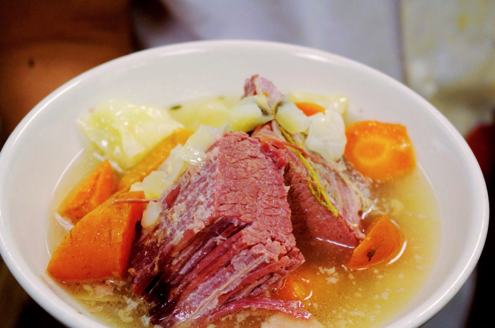Bowl of Corned Beef and Cabbage.