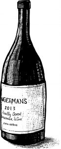 "A sketch of a bottle of wine with a label that reads "" Zingerman's 2013, Really Good American Wine"""