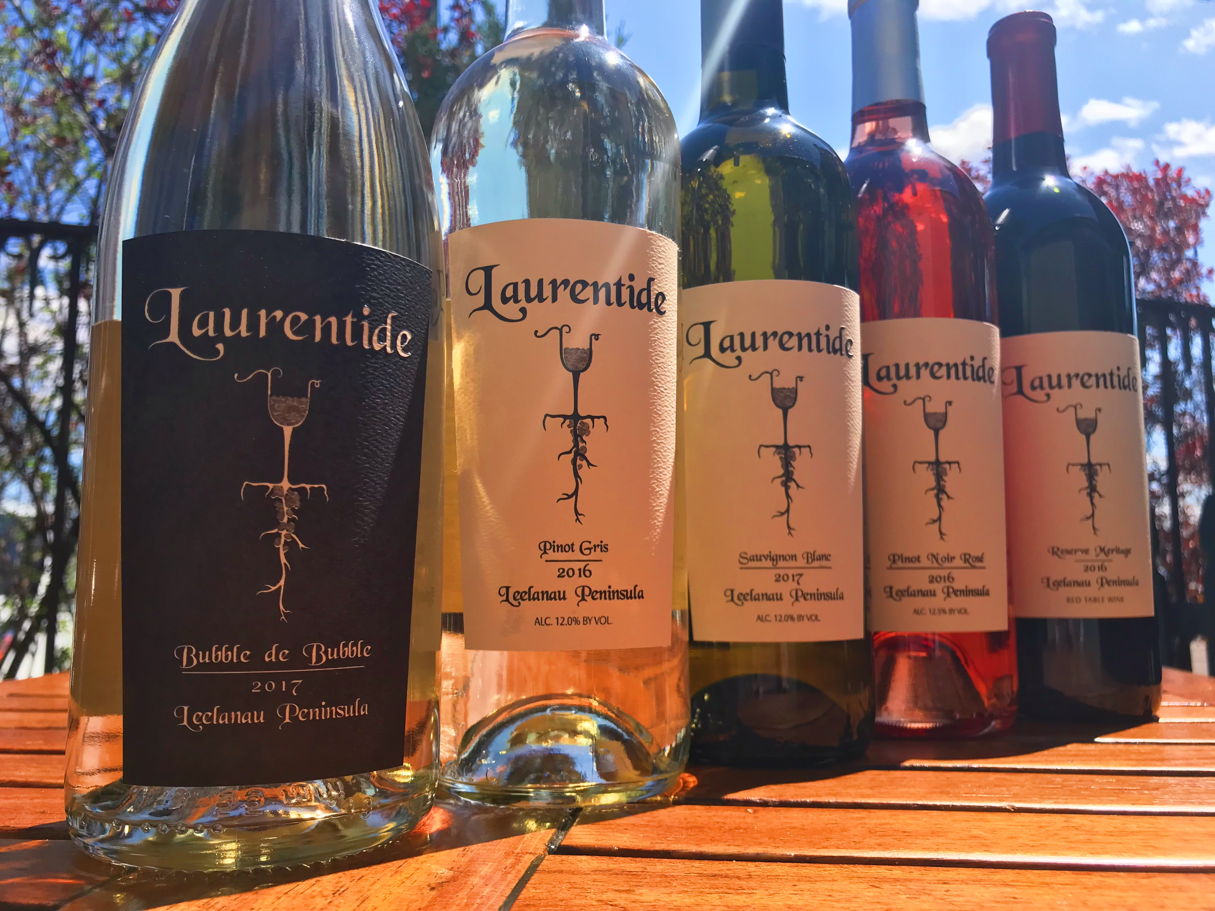 A row of wines from Laurentide Winery.