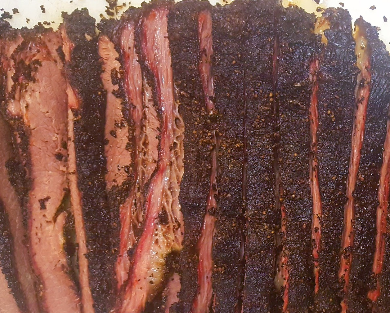 Sliced Texas BBQ brisket.
