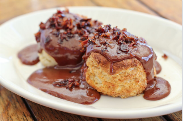 """Buttermilk biscuits with chocolate and bacon """"gravy""""."""