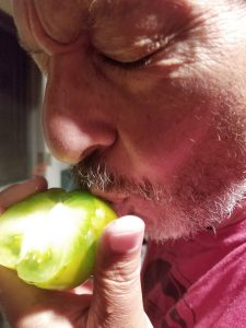 Ari Weinzweig kissing one of Tammie's tomatoes.
