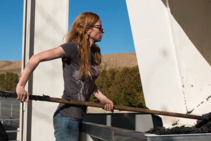 Sarah Hedges Goedhart tending to a vat of grapes.