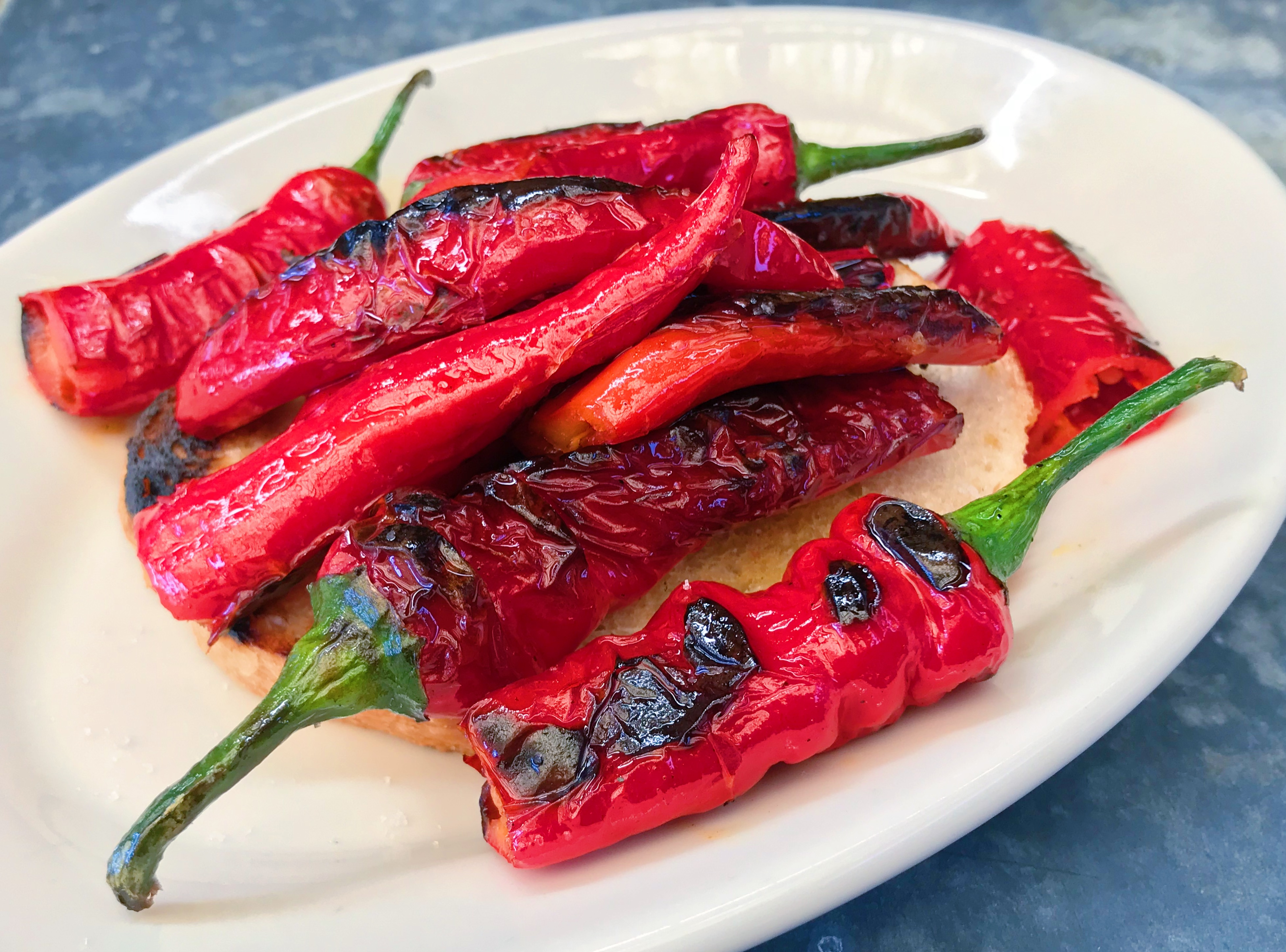 A plate of sautéed Jimmy Nardello peppers at the Roadhouse.