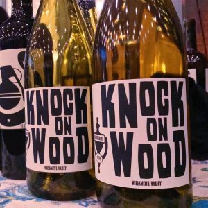 The label André Hueston Mack designed for his Knock on Wood Chardonnay.