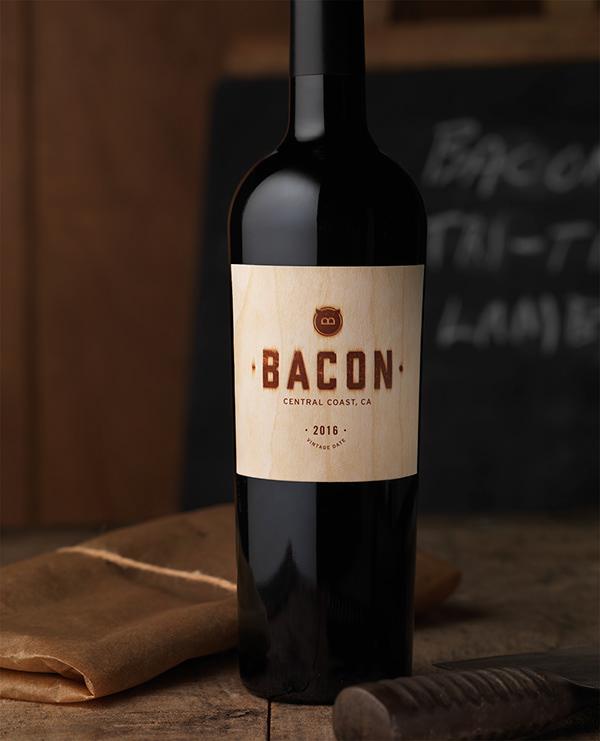 A bottle of Bacon wine by Guarachi Wine Partners. The label looks like a butcher's block.