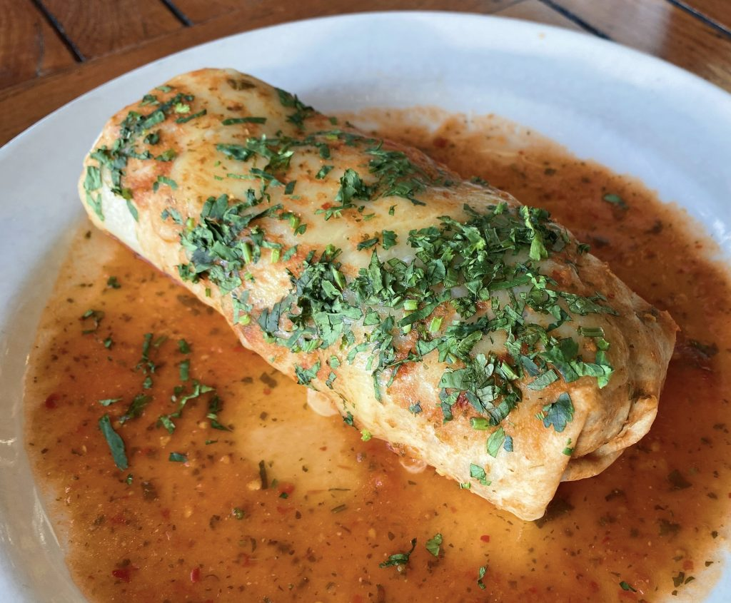 The smothered breakfast burrito blue plate special at the Roadhouse.