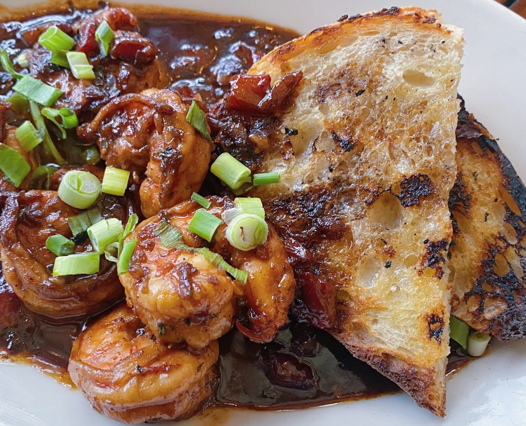 NOLA BBQ shrimp appetizer at the Roadhouse.