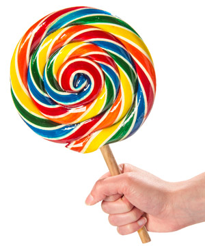 A colorful spiral lollipop.