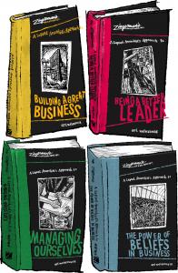 An illustration of Ari Weinzweig's business books.