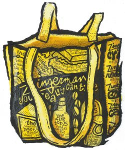 An Illustration of a Zingerman's reussable yellow tote bag.