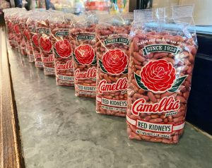 A row of bags of Camellia red beans.