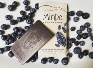 A Mindo Blueberry chocolate bar.