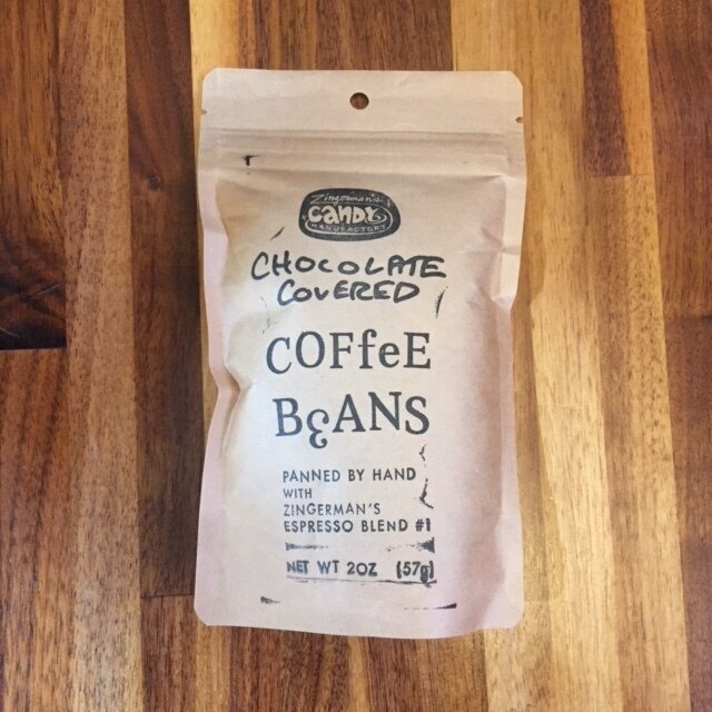 A bag of Zingerman's Chocolate Covered Coffee Beans.