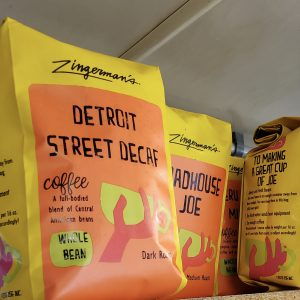 Bags of Zingerman's Coffee beans.