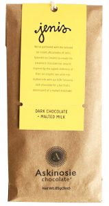 A Jeni's and Askinosie collaboration chocolate bar.