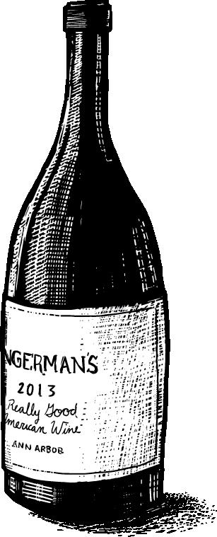 Scratchboard Style Wine Bottle Illustration with Zingerman's Tagline Really Good American Food