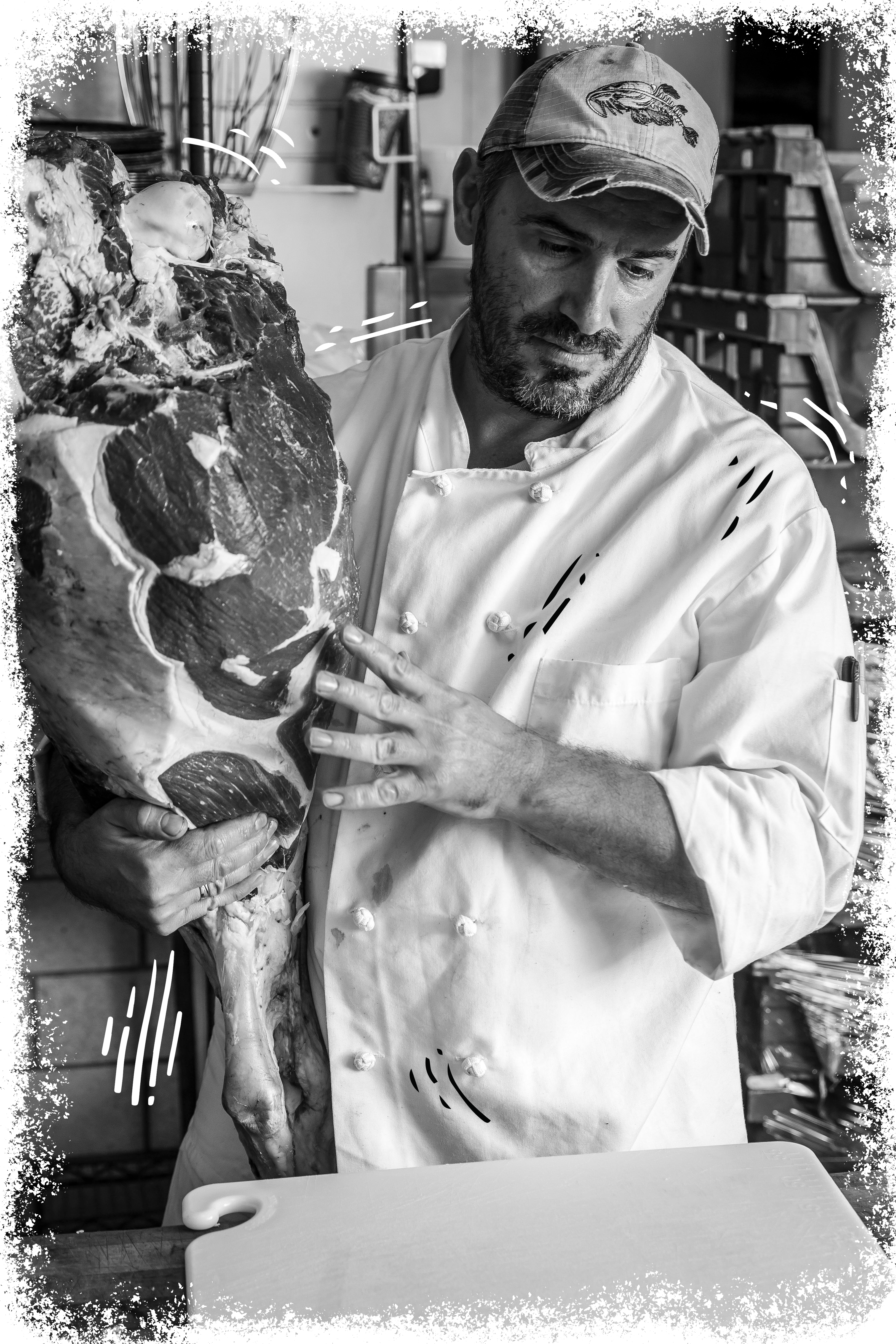 Afrim the Butcher with a Slab of Dry Aged Beef