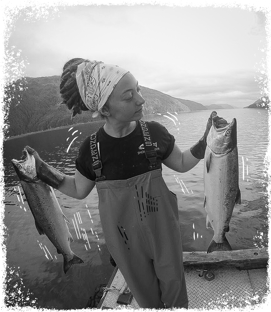 Shoreline Fisher Marie with the Catch of the Day Wild-Caught Salmon