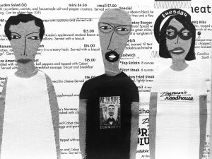 An illustration of 3 people from Zingerman's Roadhouse as depicted on a commisioned peice by artist Patrick-Earl Barnes.