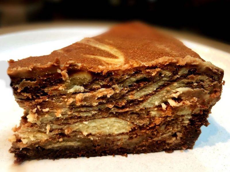 Halvah swirled cheesecake from Zingerman's Bakehouse.