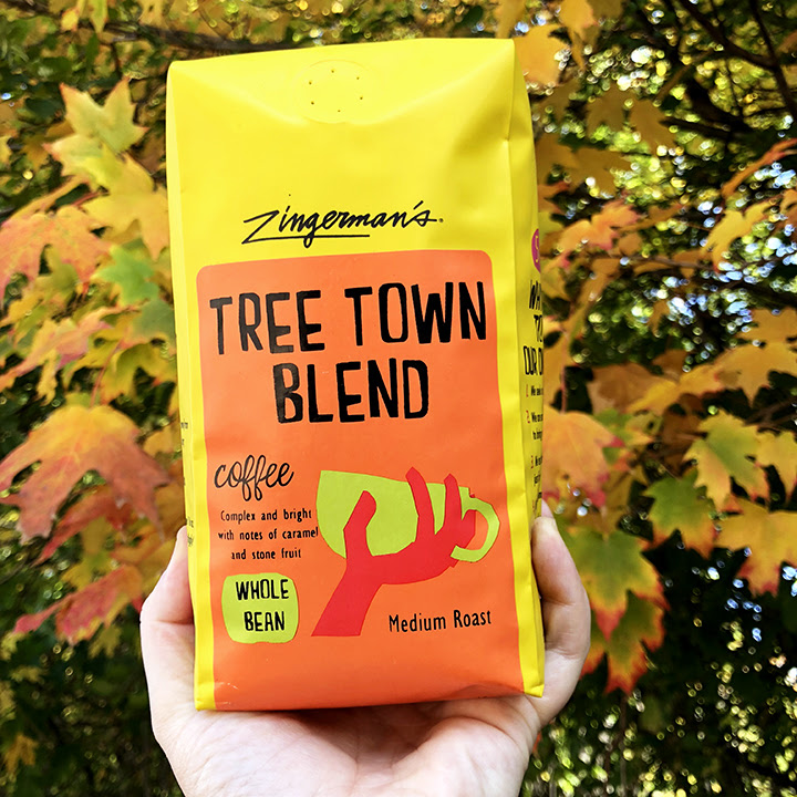 A bag of Tree Town Blend Coffee from Zingerman's Coffee Company.