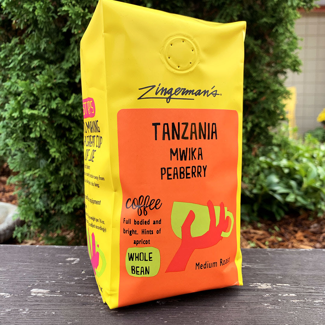 A bag of Tanzania East African Peaberry from ZIngerman's Coffee Company.