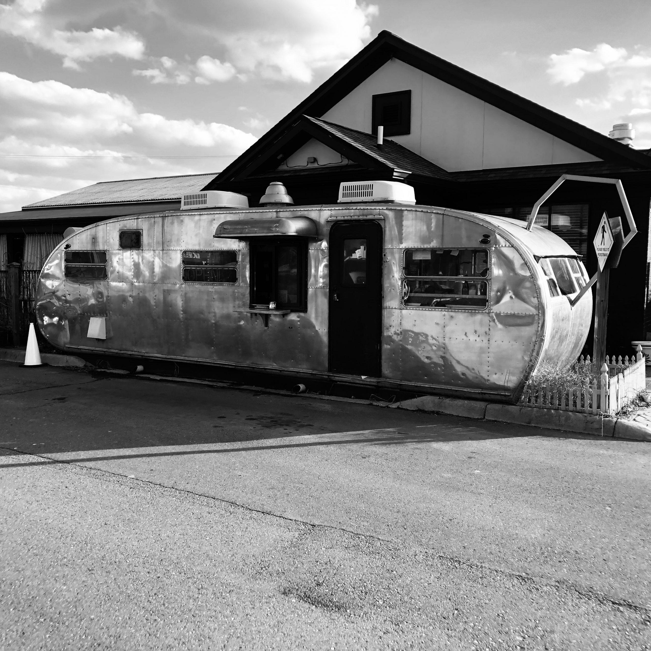 A black and white photo of Zingerman's Roadshow.