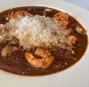 A Bowl of seafood gumbo.