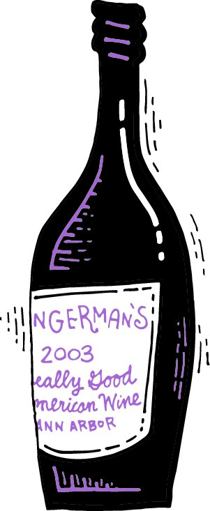 """A sketch of a bottle of wine with a label that reads """" Zingerman's 2013, Really Good American Wine"""""""